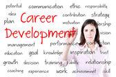 Mujer de negocios joven escribiendo el concepto de desarrollo de carrera. aislado en blanco. — Foto de Stock