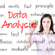 Young business woman writing data analysis concept. Isolated on white. — Stock Photo #46292231