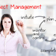 Young business woman writing project management workflow. Office background. — Stock Photo