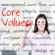 Young business woman writing concept of core values. Office background. — Stock Photo #46295409
