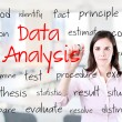 Young business woman writing data analysis concept. Office background. — Stock Photo #46297897