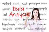 Young business woman writing data analysis concept. Isolated on white. — Stock Photo