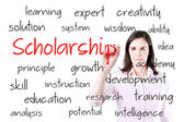 Young business woman writing scholarship concept. Isolated on white. — Stock Photo