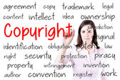 Business woman writing copyright concept. Isolated on white. — Stock Photo