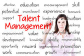 Business woman writing talent management concept. Isolated on white. — Stock Photo