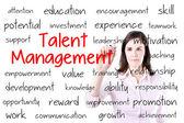 Concept de gestion de talent d'écriture d'une femme d'affaires. isolé sur blanc. — Photo