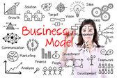 Entreprise main écrit concept de modèle d'affaires. isolé sur blanc. — Photo
