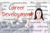 Kobieta młody biznes pismo koncepcja rozwoju kariery. biuro tło. — Zdjęcie stockowe
