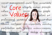 Young business woman writing concept of core values. Office background. — Stock Photo