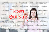 Business hand writing team building concept. Office background. — Stock Photo