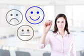 Business woman select happy on satisfaction evaluation. Office background. — Stock Photo
