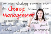 Young business woman writing change management concept. Office background. — Stock Photo