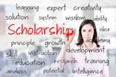 Young business woman writing scholarship concept. Office background. — Stock Photo