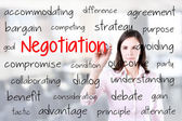 Business woman writing negotiation concept. Office background. — Stock Photo