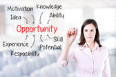 Business woman writing opportunity attainment by many attribute. Office background. — Stock Photo