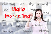 Business woman writing digital marketing concept. Office background. — Stock Photo