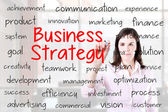 Businesswoman writing business strategy concept. Office background. — Stock Photo