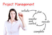 Young business woman writing project management workflow. Isolated on white. — Stock Photo