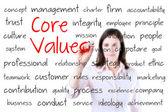 Молодые бизнес-леди, написание концепции основных ценностей. изолированные на белом. — Стоковое фото
