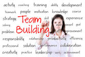 Business hand writing team building concept. Isolated on white. — Stock Photo