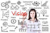 Young business woman writing vision concept. Isolated on white. — Stock Photo