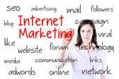 Zakenvrouw internet marketing concept schrijven. geïsoleerd op wit. — Stockfoto