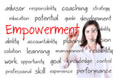 Young business woman writing empowerment concept. Isolated on white. — Stock Photo