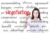 商业妇女写作谈判的概念。白色衬底上分离. — 图库照片