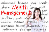 Business woman writing wealth management concept. Isolated on white. — Stock Photo
