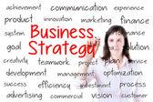 Imprenditrice scrivendo il concetto di strategia di business. isolato su bianco. — Foto Stock