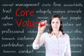 Young business woman writing concept of core values — Stock Photo