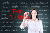 Business hand writing team building concept — Stock Photo