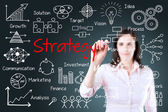 Young business woman writing business strategy concept — Stock Photo