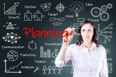 Young business woman writing planning concept — Stock Photo