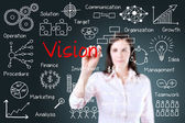 Young business woman writing vision concept. — Stock Photo