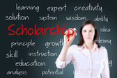 Young business woman writing scholarship concept — Stock Photo