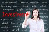 Iş kadını yatırım kavramı yazma. mavi arka plan. — Stok fotoğraf