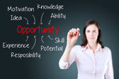 Business woman writing opportunity attainment by many attribute. Blue background. — Stock Photo