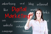Business woman writing digital marketing concept. Blue background. — Stock Photo