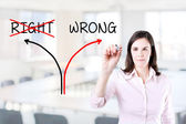 Choosing the Wrong way instead of the Right one. Office background. — Stock Photo