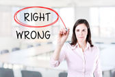 Choosing Right instead of Wrong. Right selected with red marker. Office background. — Stock Photo