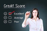 Hand putting check mark with red marker on excellent credit score evaluation form. Blue background. — Foto Stock