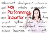 Young business woman writing key performance indicator (kpi) concept. Isolated on white. — Stock Photo