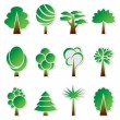 Vector simple green tree icon set — Stock Vector