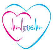 Heartbeat love text and heart symbol — Stock Vector