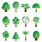 Vector simple green tree icon set — Vector de stock