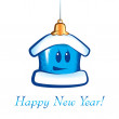 Stock Vector: New Year Christmas cartoon house