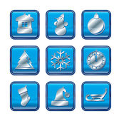 New Year Christmas blue icon set — Stock Vector