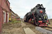 Retro Kızılyıldız ile lokomotif — Stok fotoğraf