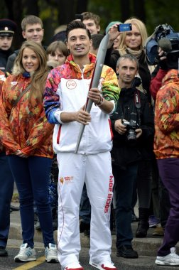 Torchbearer of the Olympic flame in 2014 in Russia